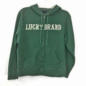 Lucky Brand | Appliqué Logo Full Zip Green Hoodie